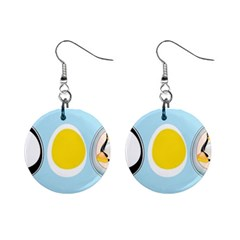 Linux Tux Penguin In The Egg Mini Button Earrings