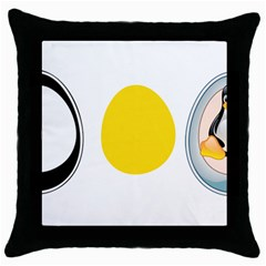 Linux Tux Penguin In The Egg Black Throw Pillow Case