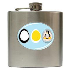 Linux Tux Penguin In The Egg Hip Flask by youshidesign