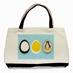 Linux Tux Penguin In The Egg Twin Sided Black Tote Bag by youshidesign