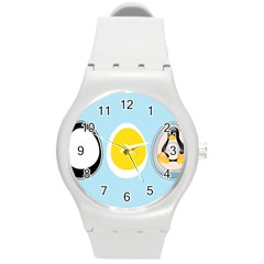 Linux Tux Penguin In The Egg Plastic Sport Watch (medium) by youshidesign