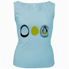 Linux Tux Penguin In The Egg Womens  Tank Top (baby Blue) by youshidesign