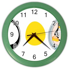Linux Tux Penguin In The Egg Wall Clock (color) by youshidesign