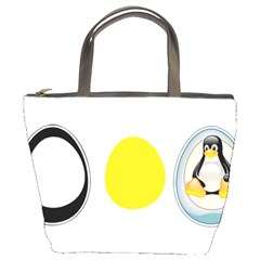 Linux Tux Penguin In The Egg Bucket Handbag by youshidesign