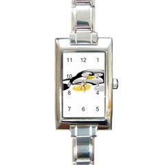 Linux Tux Pengion And Eggs Rectangular Italian Charm Watch by youshidesign