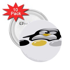 Linux Tux Pengion And Eggs 2 25  Button (10 Pack) by youshidesign