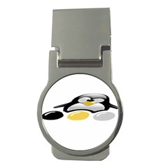 Linux Tux Pengion And Eggs Money Clip (round) by youshidesign