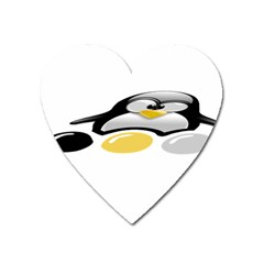 Linux Tux Pengion And Eggs Magnet (heart) by youshidesign