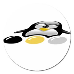 Linux Tux Pengion And Eggs Magnet 5  (round) by youshidesign