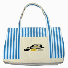 Linux Tux Pengion And Eggs Blue Striped Tote Bag by youshidesign