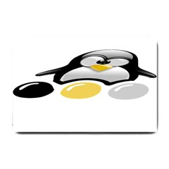 Linux Tux Pengion And Eggs Small Door Mat by youshidesign