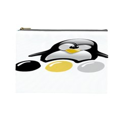 Linux Tux Pengion And Eggs Cosmetic Bag (large) by youshidesign