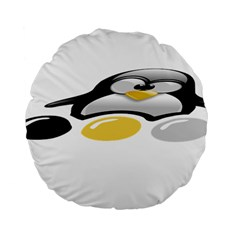 Linux Tux Pengion And Eggs 15  Premium Round Cushion  by youshidesign