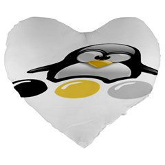 Linux Tux Pengion And Eggs 19  Premium Heart Shape Cushion by youshidesign