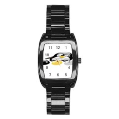 Linux Tux Pengion And Eggs Stainless Steel Barrel Watch by youshidesign
