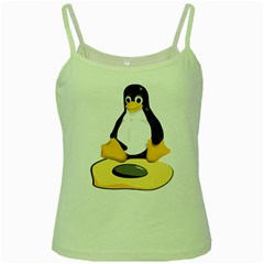 Linux Black Side Up Egg Green Spaghetti Tank by youshidesign