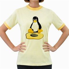 Linux Black Side Up Egg Womens  Ringer T Shirt (colored)