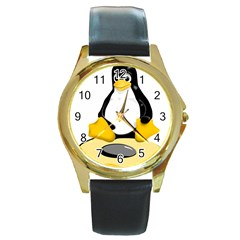 Linux Black Side Up Egg Round Leather Watch (gold Rim)  by youshidesign