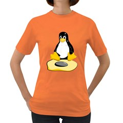 Linux Black Side Up Egg Womens' T Shirt (colored) by youshidesign