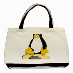 Linux Black Side Up Egg Twin Sided Black Tote Bag by youshidesign