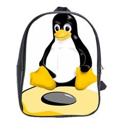 Linux Black Side Up Egg School Bag (large) by youshidesign