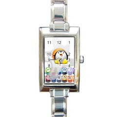 Linux Versions Rectangular Italian Charm Watch by youshidesign