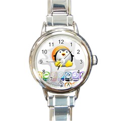 Linux Versions Round Italian Charm Watch by youshidesign