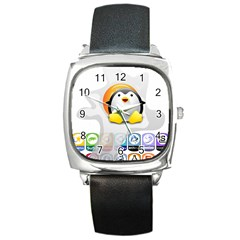Linux Versions Square Leather Watch by youshidesign