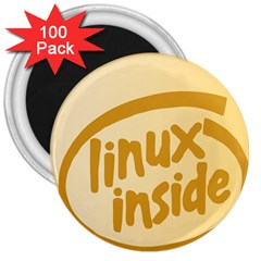Linux Inside Egg 3  Button Magnet (100 Pack) by youshidesign