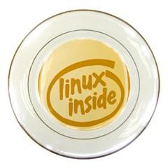 Linux Inside Egg Porcelain Display Plate by youshidesign