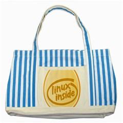 Linux Inside Egg Blue Striped Tote Bag by youshidesign