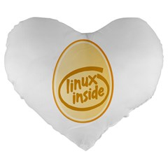 Linux Inside Egg 19  Premium Heart Shape Cushion by youshidesign