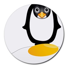 Linux Tux Pengion Oops 8  Mouse Pad (round) by youshidesign