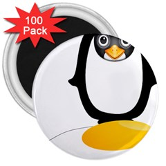 Linux Tux Pengion Oops 3  Button Magnet (100 Pack) by youshidesign