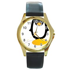 Linux Tux Pengion Oops Round Leather Watch (gold Rim)  by youshidesign