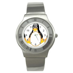 Linux Tux Penguins Stainless Steel Watch (slim) by youshidesign