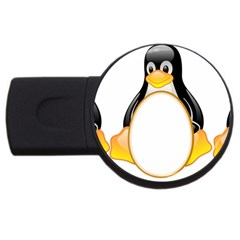 Linux Tux Penguins 4gb Usb Flash Drive (round) by youshidesign