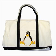 Linux Tux Penguins Two Toned Tote Bag by youshidesign