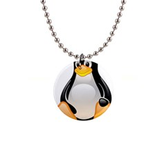 Crystal Linux Tux Penguin  Button Necklace by youshidesign