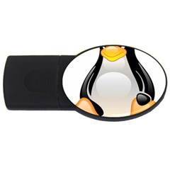 Crystal Linux Tux Penguin  4gb Usb Flash Drive (oval) by youshidesign