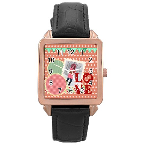 Love By Ki Ki   Rose Gold Leather Watch    Bgemjnx5bjla   Www Artscow Com Front