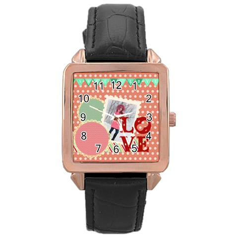 Love By Ki Ki   Rose Gold Leather Watch    6b37fchege1f   Www Artscow Com Front