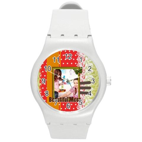 Kids By Kids   Round Plastic Sport Watch (m)   9hiphizrbg31   Www Artscow Com Front