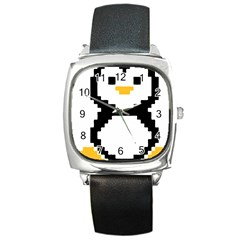 Pixel Linux Tux Penguin Square Leather Watch by youshidesign