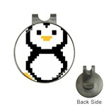 Pixel Linux Tux Penguin Hat Clip with Golf Ball Marker Front