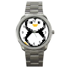 Pixel Linux Tux Penguin Sport Metal Watch by youshidesign