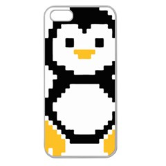 Pixel Linux Tux Penguin Apple Seamless Iphone 5 Case (clear) by youshidesign