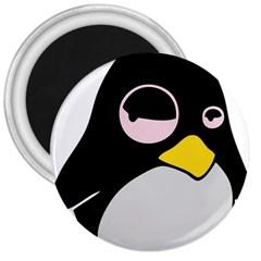 Lazy Linux Tux Penguin 3  Button Magnet by youshidesign