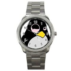 Lazy Linux Tux Penguin Sport Metal Watch by youshidesign