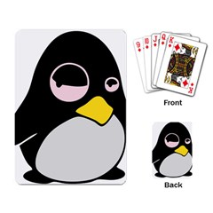 Lazy Linux Tux Penguin Playing Cards Single Design by youshidesign